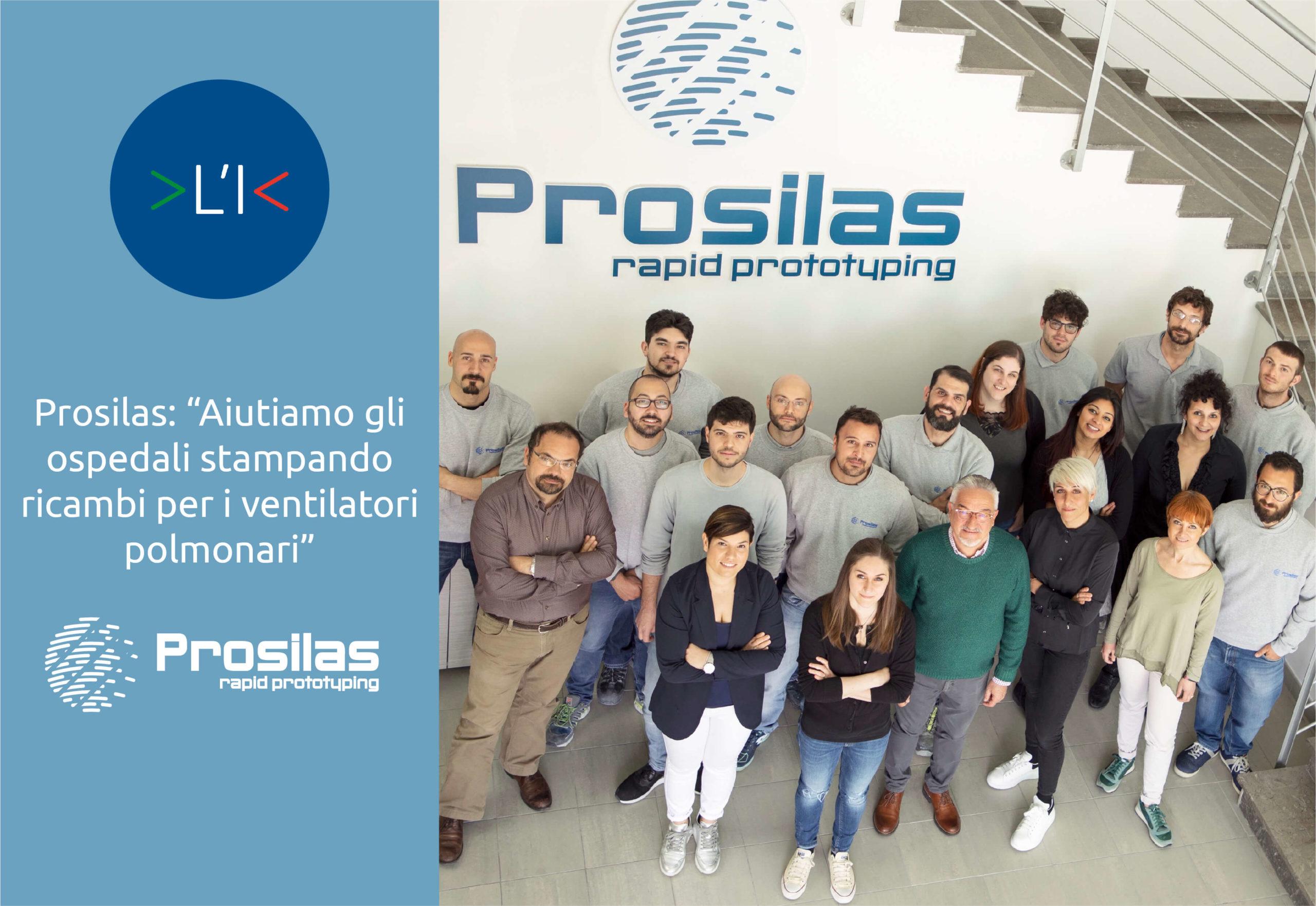 """Prosilas: """"Aiutiamo gli ospedali stampando ricambi per i ventilatori polmonari"""""""